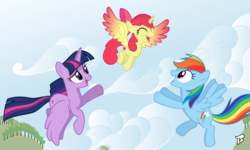 Size: 4000x2400 | Tagged: safe, artist:bepreeh, artist:brony250, apple bloom, rainbow dash, twilight sparkle, alicorn, pony, alicornified, bloomicorn, flying, flying lesson, race swap, twilight sparkle (alicorn)
