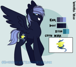 Size: 1280x1128 | Tagged: safe, artist:shootingstaryt, oc, oc only, oc:prince star tracker, pegasus, pony, base used, biography, male, next generation, offspring, parent:king sombra, parent:princess luna, reference, reference sheet, solo, stallion