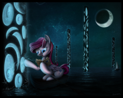 Size: 2397x1900 | Tagged: artist:konsumo, book, concept, detailed, digital, high res, journal, magic, moon, night, oc, ocean, oc only, pillar, pony, safe, solo, stars, water