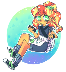 Size: 768x842 | Tagged: safe, artist:jackytheripperart, sunset shimmer, eqg summertime shorts, equestria girls, good vibes, apron, chopsticks, clothes, converse, happi, shoes, smiling, sneakers, solo, sunset sushi, toy interpretation, uniform