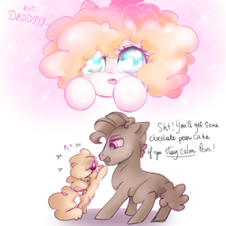 Size: 5000x5000 | Tagged: absurd res, artist:pinkablue, begging, bipedal, comic, cute, dialogue, duo, earth pony, father and daughter, female, filly, freckles, gradient background, grand pear, hnnng, hooves, lidded eyes, male, :o, offscreen character, open mouth, pearabetes, pear butter, pony, pov, puppy dog eyes, reaching, safe, simple background, smiling, sparkles, stallion, white background, younger, young grand pear