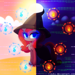 Size: 1280x1280 | Tagged: artist:riouku, blue eyes, chest fluff, commission, day, full moon, glowing eyes, hat, looking at you, moon, night, oc, oc only, pony, safe, solo, split screen, sun, witch hat