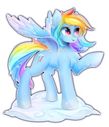 Size: 2226x2586 | Tagged: artist:koveliana, chest fluff, cloud, female, mare, open mouth, pegasus, pony, rainbow dash, raised hoof, safe, simple background, solo, transparent background