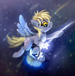 Size: 1724x1738   Tagged: safe, artist:xbi, derpy hooves, pegasus, pony, basket, chest fluff, cute, derpabetes, female, flying, mare, shooting star, shooting stars, solo, stars, tabun art-battle finished after, tangible heavenly object