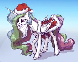 Size: 6575x5232 | Tagged: safe, artist:nadnerbd, princess celestia, alicorn, pony, absurd resolution, beard, christmas, clothes, costume, facial hair, fake beard, female, hat, holiday, mare, santa costume, santa hat, smiling, solo