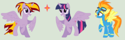 Size: 1370x436 | Tagged: safe, artist:reena2308, twilight sparkle, oc, alicorn, pegasus, pony, alicorn oc, clothes, female, lesbian, magical lesbian spawn, offspring, parent:twilight sparkle, parents:twifire, shipping, simple background, twifire, twilight sparkle (alicorn), uniform, wonderbolts uniform