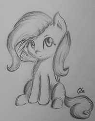 Size: 2964x3768 | Tagged: safe, artist:qbellas, fluttershy, pegasus, pony, folded wings, looking at you, monochrome, sitting, smiling, solo, traditional art