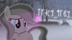 Size: 2600x1463 | Tagged: artist:kiwipone, art trade, cute, earth pony, female, fog, glowing mane, irl, mare, monochrome, oc, oc only, oc:tracy grey, partial color, photo, ponies in real life, pony, safe, solo, standing