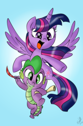 Size: 800x1214 | Tagged: safe, artist:emositecc, spike, twilight sparkle, alicorn, dragon, pony, flying, horn, scroll, simple background, twilight sparkle (alicorn), wings