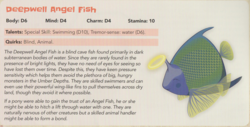 Size: 2144x1092 | Tagged: angel, angelfish, animal, deepwell angel fish, dungeons and dragons, eyes closed, fish, halo, pen and paper rpg, rpg, safe, smiling, solo, stats, tails of equestria, text, the festival of lights, umberfoal, underdark