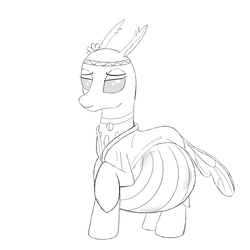 Size: 2000x2000 | Tagged: artist:20thx5150, belly, changedling, changeling, female, free love (changedling), hippieling, lidded eyes, monochrome, pregnant, raised hoof, safe, simple background, sketch, smiling, solo, white background