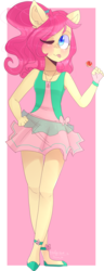 Size: 1811x4713 | Tagged: safe, artist:emily-826, oc, oc only, oc:tree green, anthro, plantigrade anthro, candy, clothes, dress, female, food, lollipop, mare, one eye closed, solo, tongue out, wink