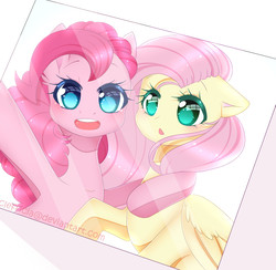 Size: 1025x1001 | Tagged: safe, artist:clefficia, fluttershy, pinkie pie, earth pony, pegasus, pony, anime, anime style, bust, cute, diapinkes, duo, female, hug, looking at you, mare, open mouth, photo, portrait, selfie, shyabetes, smiling, wings