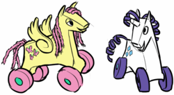 Size: 997x548   Tagged: safe, artist:delistylehardcore, fluttershy, rarity, original species, wheelpone, duo, inanimate tf, looking at something, rocking horse, simple background, smiling, toy, transformation, wat, wheel, white background