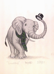 Size: 1080x1488 | Tagged: safe, artist:thefriendlyelephant, oc, oc only, oc:obi, elephant, 2018 community collab, derpibooru community collaboration, clothes, colored pencil drawing, community related, hat, non-mlp oc, scarf, simple background, solo, top hat, traditional art, white background