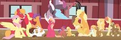 Size: 1024x341 | Tagged: safe, artist:mlp-zap-apple, apple bloom, applejack, big macintosh, caramel, fluttershy, tender taps, hybrid, carajack, family, female, fluttermac, interspecies offspring, male, offspring, parent:apple bloom, parent:applejack, parent:big macintosh, parent:caramel, parent:cheerilee, parent:discord, parent:fluttershy, parent:tender taps, parents:carajack, parents:cheerimac, parents:discoshy, parents:fluttermac, parents:tenderbloom, shipping, straight, tenderbloom