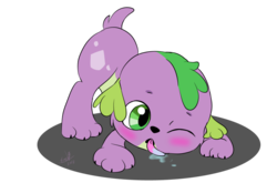 Size: 1024x675 | Tagged: safe, artist:emositecc, spike, spike the regular dog, dog, equestria girls, baby, baby spike, cute, licking, male, puppy, simple background, solo, spikabetes, tongue out, transparent background