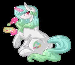 Size: 3777x3257   Tagged: safe, artist:amazing-artsong, oc, oc only, oc:brushing heart, pony, commission, magic, simple background, solo, telekinesis, transparent background