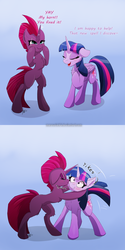 Size: 2000x4000 | Tagged: safe, artist:mercurial64, fizzlepop berrytwist, tempest shadow, twilight sparkle, alicorn, pony, unicorn, my little pony: the movie, blue background, blushing, broken horn, chest fluff, comic, cute, eye scar, female, fixed horn, gradient background, horn, kiss on the cheek, kissing, lesbian, mare, scar, scrunchy face, shipping, simple background, so awesome, surprise kiss, tempest gets her horn back, tempest now has a true horn, tempestbetes, tempestlight, twilight sparkle (alicorn)