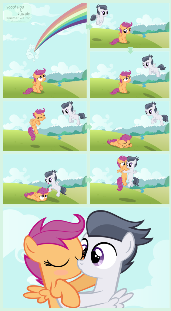 1625285 Alternate Version Artist Adcoon Blushing Edit Female Filly Flying Helping Kissing Male Rainbow Rumble Rumbloo Safe Scootaloo Scootaloo Can T Fly Shipping Straight Derpibooru She first appears in friendship is magic, part 1 scootaloo and her friends, apple bloom and sweetie belle form the cutie mark crusaders, a club. kissing male rainbow rumble rumbloo
