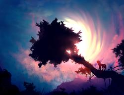 Size: 1300x1000   Tagged: dead source, safe, artist:wwalexcornerww, twilight sparkle, pony, backlighting, female, mare, mushroom, profile, scenery, scenery porn, silhouette, solo, standing, sunset, tree