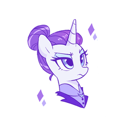 Size: 500x500 | Tagged: safe, artist:dilandau203, rarity, pony, unicorn, alternate timeline, bust, clothes, female, hair bun, mare, night maid rarity, nightmare takeover timeline, portrait, simple background, solo, white background