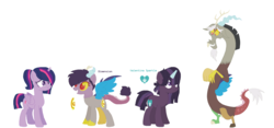 Size: 1756x824 | Tagged: safe, artist:1313jaysong1313, discord, twilight sparkle, alicorn, hybrid, discolight, female, interspecies offspring, male, offspring, parent:discord, parent:twilight sparkle, parents:discolight, shipping, straight, twilight sparkle (alicorn)