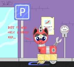 Size: 2000x1806   Tagged: safe, artist:trackheadtherobopony, philomena, oc, oc:trackhead, original species, pony, robot, robot pony, wheelpone, parking lot, parking ticket, sign, solo, wheel boot