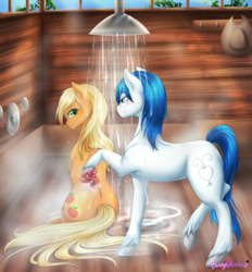 Size: 1024x1104 | Tagged: safe, artist:bunnywhiskerz, applejack, oc, oc:constance everheart, earth pony, pony, bathing, blushing, canon x oc, commission, everjack, female, hat, looking back, loose hair, male, mare, shipping, shower, sitting, stallion, straight, unshorn fetlocks, wet mane, wet tail