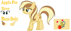 Size: 8520x3768 | Tagged: safe, artist:galaxyswirlsyt, oc, oc only, oc:apple pie, earth pony, pony, female, high res, mare, offspring, parent:applejack, parent:caramel, parents:carajack, raised hoof, reference sheet, simple background, solo, transparent background