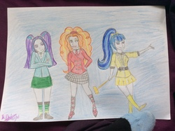 Size: 1280x956   Tagged: safe, artist:mad-wolf-witch, adagio dazzle, aria blaze, sonata dusk, human, equestria girls, heathers, heathers the musical, humanized, the dazzlings, traditional art