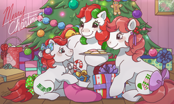 Size: 854x512 | Tagged: safe, artist:conphettey, baby stockings, merry treat, g1, bow, candy, candy cane, christmas, christmas tree, cookie, food, gingerbread man, holiday, present, stockings (g1), tail bow, tree