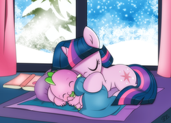 Size: 1935x1382 | Tagged: adorable face, artist:dsana, baby, baby dragon, baby spike, blanket, book, cuddling, curtains, cute, cutie mark, dragon, dsana is trying to murder us, duo, eyes closed, female, filly, filly twilight sparkle, hatchling, hug, mama twilight, nap, pacifier, pillow, pony, safe, sleeping, smiling, snow, snowfall, snuggling, spikabetes, spike, spikelove, tail hold, tail hug, twiabetes, twilight sparkle, unicorn, weapons-grade cute, window, younger