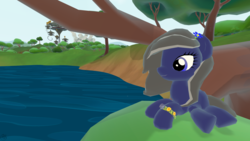 Size: 1920x1080 | Tagged: safe, artist:moon flower, derpibooru exclusive, oc, oc only, oc:moon flower, earth pony, pony, legends of equestria, 2017, 3d, accessories, bracelet, dandelion, flower, flower in hair, jewelry, lake, lying, nature, outdoors, scenery, solo, the heartlands, tree, wallpaper