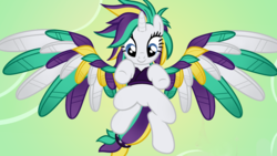 Size: 1920x1080 | Tagged: alicorn, alicornified, alternate hairstyle, artist:beavernator, clothes, colored wings, female, flying, mare, multicolored wings, pony, punk, race swap, raricorn, raripunk, rarity, safe, show accurate, smiling, solo, spread wings, wings