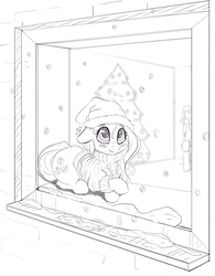 Size: 1222x1566 | Tagged: safe, artist:alcor, fluttershy, oc, oc:anon, pegasus, pony, behaving like a cat, blushing, bottomless, christmas, christmas tree, clothes, cute, female, floppy ears, hat, holiday, looking out the window, looking up, mare, monochrome, partial nudity, prone, santa hat, shyabetes, smiling, snow, snowfall, solo focus, sweater, sweatershy, tree, window, windowsill