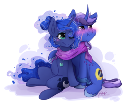 Size: 1024x856 | Tagged: safe, artist:midnightpremiere, princess luna, oc, oc:azure night, alicorn, pony, unicorn, azuna, blushing, canon x oc, clothes, cute, female, male, scarf, scrunchy face, shared clothing, shared scarf, simple background, straight, transparent background, unshorn fetlocks
