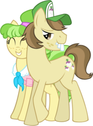 Size: 327x444 | Tagged: safe, artist:thecheri, chickadee, hayseed turnip truck, ms. peachbottom, earth pony, pony, bucktooth, duo, female, male, mare, peachtruck, shipping, simple background, stallion, straight, transparent background