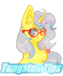 Size: 1250x1500 | Tagged: artist:danbaishi, bust, female, glasses, mare, oc, oc only, oc:tungsten tips, portrait, safe, simple background, solo, transparent background, unicorn