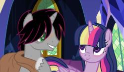 Size: 1376x804 | Tagged: safe, artist:everythingf4ngirl, idw, shadow lock, twilight sparkle, alicorn, pony, base used, female, male, shipping, straight, twilight sparkle (alicorn), twilock