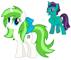 Size: 3927x3334   Tagged: safe, artist:minty root, artist:stormdraws, oc, oc only, oc:corpulent brony, oc:minty root, unicorn, bow, bowtie, excited, female, male, oc x oc, shipping, straight, vector