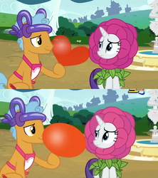 Size: 768x864 | Tagged: anti-romance, balloon, censorship, comparison, flower costume, flowerity, forever filly, official censorship, rarity, safe, screencap, spacetoon, twisty pop, united arab emirates, wat, why
