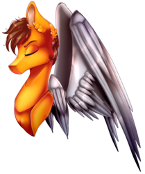 Size: 1191x1425 | Tagged: safe, artist:xxmissteaxx, oc, oc only, oc:aero, pegasus, pony, artificial wings, augmented, bust, eyes closed, male, mechanical wing, portrait, solo, stallion, wings