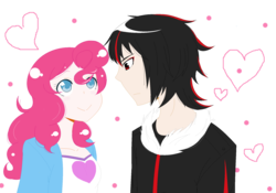 Size: 2001x1401 | Tagged: artist:biscuitloveskitty, crossover, crossover shipping, female, heart, human, humanized, love, male, pinkie pie, safe, shadowpie, shadow the hedgehog, shipping, simple background, sonic the hedgehog (series), straight, transparent background