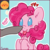 Size: 512x512 | Tagged: safe, artist:esmeia, pinkie pie, pony, beady eyes, blush sticker, blushing, boop, bust, cheek fluff, chest fluff, cute, diapinkes, ear fluff, emoji, emoticon, female, fluffy, leg fluff, mare, offscreen character, simple background, solo, tongue out