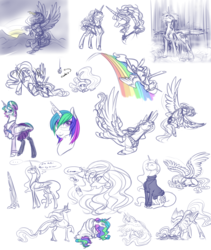 Size: 2304x2728 | Tagged: alternate hairstyle, artist:mythpony, blanket, book, clothes, cookie, cute, cutelestia, fishnets, flying, food, glasses, magic, pony, preening, princess celestia, princess luna, rainbow, safe, short mane, sillestia, silly, sketch, sketch dump, skirt, stockings, sun work, sweater, thigh highs, water