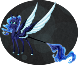 Size: 2400x2010 | Tagged: abstract background, alicorn, alternate universe, artist:australian-senior, colored hooves, colored wings, colored wingtips, goddess, kirindos, pony, princess luna, realistic horse legs, safe, solo