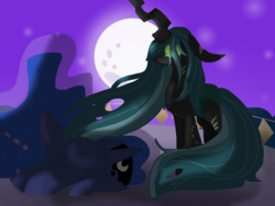 Size: 1369x1031 | Tagged: alicorn, artist:peanutthechub, changeling, chrysaluna, female, lesbian, moon, night, pony, princess luna, prone, queen chrysalis, safe, shipping