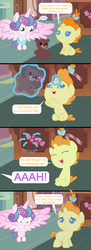 Size: 1000x2748 | Tagged: artist:beavernator, artist:clonehunter, artist:littleponynetwork, artist:red4567, artist:sofunnyguy, artist:sympathizer, artist:x-discord-x, baby, baby ponies, baby pony, baby talk, blushing, comic, diaper, fail, magic, nudity, pony, princess flurry heart, pumpkin cake, safe, teddy bear, wardrobe malfunction, we don't normally wear clothes