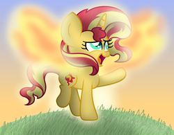 Size: 2025x1577 | Tagged: artificial wings, artist:bubbly-storm, augmented, cute, fiery shimmer, magic, magic wings, pony, safe, shimmerbetes, solo, sunset phoenix, sunset shimmer, sunset shimmer day, unicorn, wings